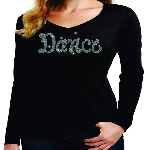 Dance Leg Spangle Bling Dance Gear Team Spirit shirt - Ladies Long Sleeve V-Neck Ladies Long Sleeve V-neck Becky`s Boutique Extra Small