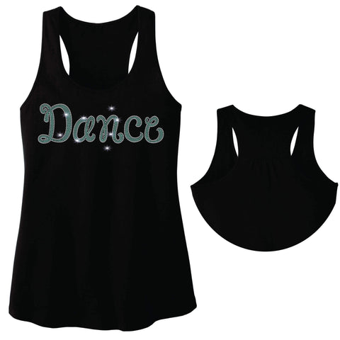 Dance Leg Spangle Bling Dance Gear Team Spirit shirt - Ladies Racerback Tank ladies racerback tank Becky`s Boutique Extra Small