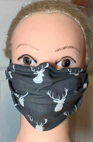 Image of Deer Head Face Mask, Adult and Child Sizes, For dust, travel, pet grooming, gardening and medical. Washable, Reusable with adjustable nose piece Face Mask Becky's Boutique Adult