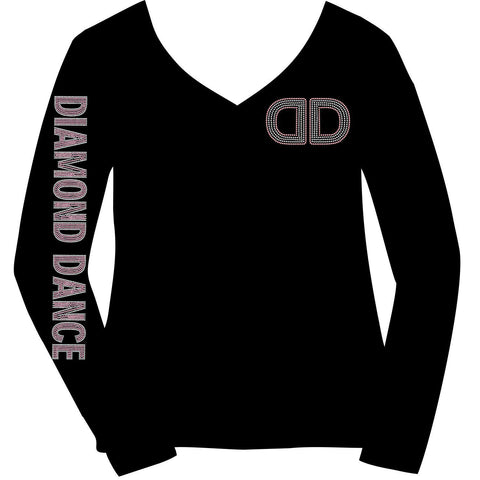 Diamond Dance Academy Ladies Bling Long Sleeve V-neck with Sleeve-Ladies Long Sleeve V-neck-Becky's Boutique-XS-Beckys-Boutique.com
