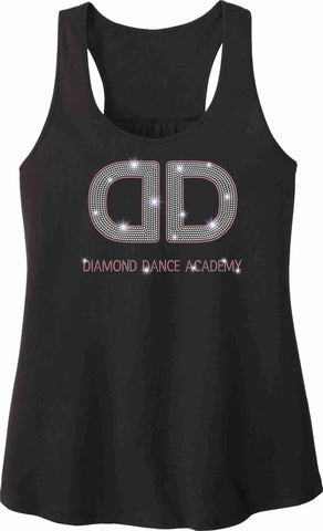 Diamond Dance Academy Ladies Gathered Flowy Racerback Tank Tank Beckys-Boutique.com