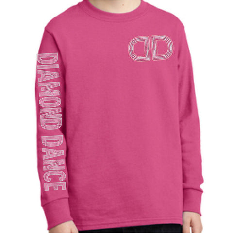 Diamond Dance Academy Youth Unisex Long Sleeve Dark Pink Holographic Sparkle Spangle Bling with left chest DD and Diamond Dance Sleeve-Youth Long Sleeve-Becky's Boutique-XS-Beckys-Boutique.com