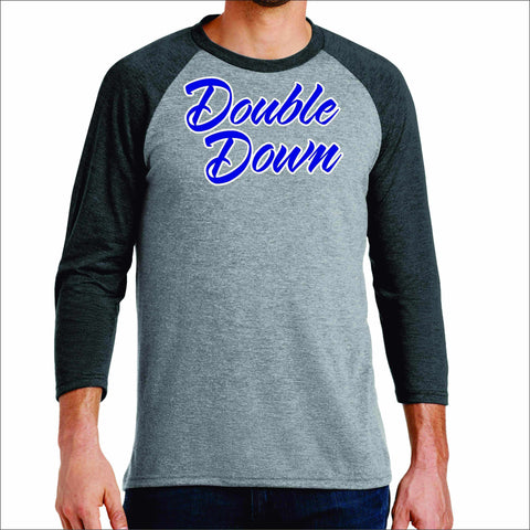 Double Down Mens Baseball Raglan Shirt-matte or glitter print 3/4 sleeve raglan Becky's Boutique Small Gray with Black Sleeves
