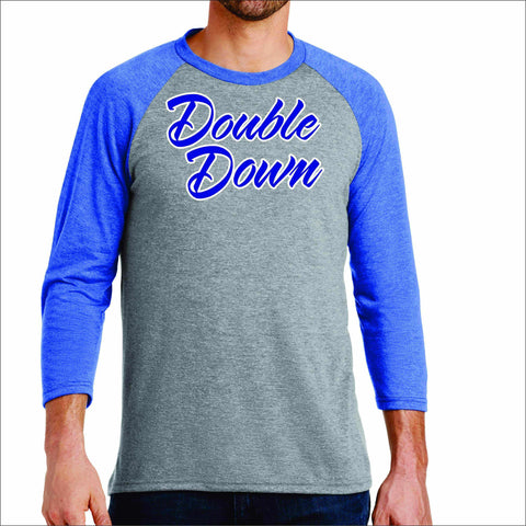 Double Down Mens Baseball Raglan Shirt-matte or glitter print 3/4 sleeve raglan Becky's Boutique Small Gray with Blue Sleeves