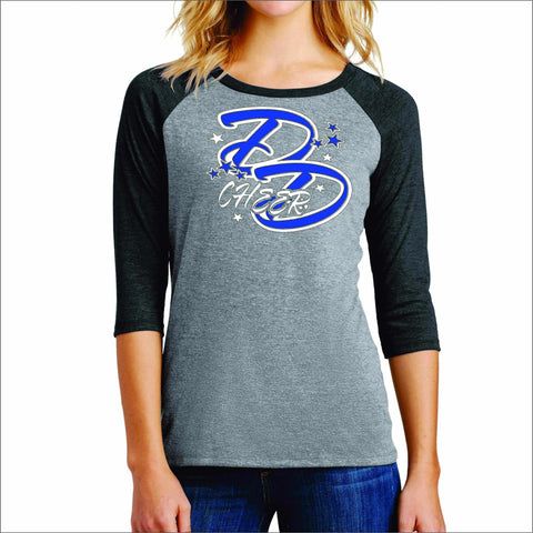 Double Down Womens Baseball Raglan Shirt- Glitter or Matte Print Sports Becky's Boutique Small Gray with Black Sleeves