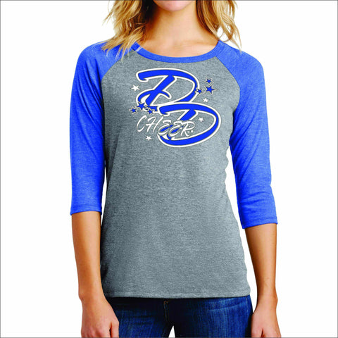 Double Down Womens Baseball Raglan Shirt- Glitter or Matte Print Sports Becky's Boutique Small Gray With Blue Sleeves