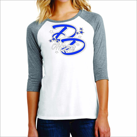 Double Down Womens Baseball Raglan Shirt- Glitter or Matte Print Sports Becky's Boutique Small White with Gray Sleeves