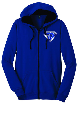 Double Down Zip Up Hoodie-Matte or Glitter Print Zip Up Hoodie Becky's Boutique Small Royal Blue