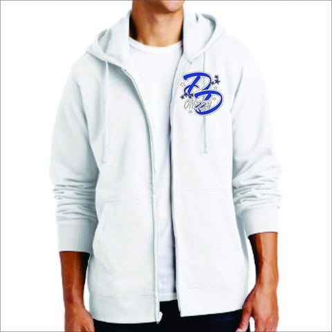 Double Down Zip Up Hoodie-Matte or Glitter Print Zip Up Hoodie Becky's Boutique Small White