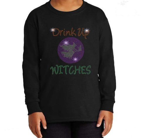 Drink up Witches Halloween Drinking Funny - Youth Long Sleeve Youth Long Sleeve Becky`s Boutique Extra Small