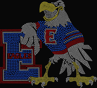 East Lake Elementary School Eagles Spangle Rhinestone Bling shirt - available in adult, youth, short, long sleeve, tank or hoodie sweatshirt Schools Becky's Boutique Womens Extra-small Womens short sleeve V-neck Red