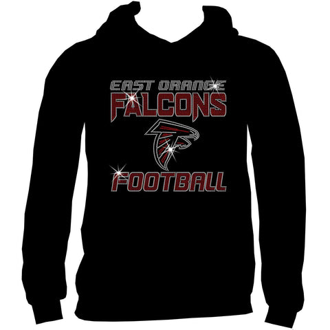 East Orange Falcons Football Ladies Holographic Spangle Sparkle Long Sleeve, Short Sleeve Shirt, Tank and Hooded Sweatshirt-LS Shirt, SS Shirt, Racerback tank and hoodie-Becky's Boutique-XS-Adult Hooded Sweatshirt-Black-Beckys-Boutique.com