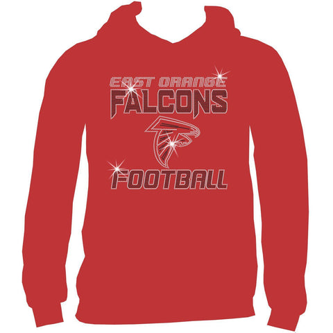East Orange Falcons Football Ladies Holographic Spangle Sparkle Long Sleeve, Short Sleeve Shirt, Tank and Hooded Sweatshirt-LS Shirt, SS Shirt, Racerback tank and hoodie-Becky's Boutique-XS-Adult Hooded Sweatshirt-Red-Beckys-Boutique.com