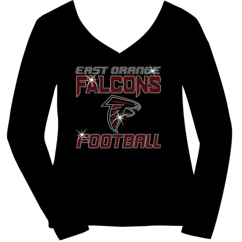 East Orange Falcons Football Ladies Holographic Spangle Sparkle Long Sleeve, Short Sleeve Shirt, Tank and Hooded Sweatshirt-LS Shirt, SS Shirt, Racerback tank and hoodie-Becky's Boutique-XS-Long Sleeve V-Neck-Black-Beckys-Boutique.com