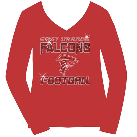 East Orange Falcons Football Ladies Holographic Spangle Sparkle Long Sleeve, Short Sleeve Shirt, Tank and Hooded Sweatshirt-LS Shirt, SS Shirt, Racerback tank and hoodie-Becky's Boutique-XS-Long Sleeve V-Neck-Red-Beckys-Boutique.com
