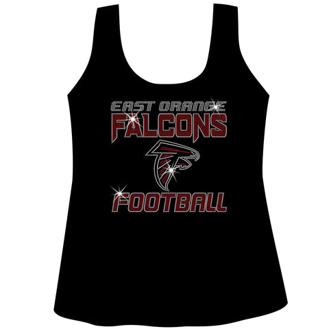 East Orange Falcons Football Ladies Holographic Spangle Sparkle Long Sleeve, Short Sleeve Shirt, Tank and Hooded Sweatshirt-LS Shirt, SS Shirt, Racerback tank and hoodie-Becky's Boutique-XS-Racerback Tank-Black-Beckys-Boutique.com