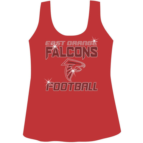 East Orange Falcons Football Ladies Holographic Spangle Sparkle Long Sleeve, Short Sleeve Shirt, Tank and Hooded Sweatshirt-LS Shirt, SS Shirt, Racerback tank and hoodie-Becky's Boutique-XS-Racerback Tank-Red-Beckys-Boutique.com