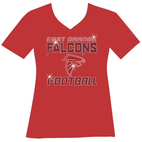 East Orange Falcons Football Ladies Holographic Spangle Sparkle Long Sleeve, Short Sleeve Shirt, Tank and Hooded Sweatshirt-LS Shirt, SS Shirt, Racerback tank and hoodie-Becky's Boutique-XS-Short Sleeve V-Neck-Red-Beckys-Boutique.com
