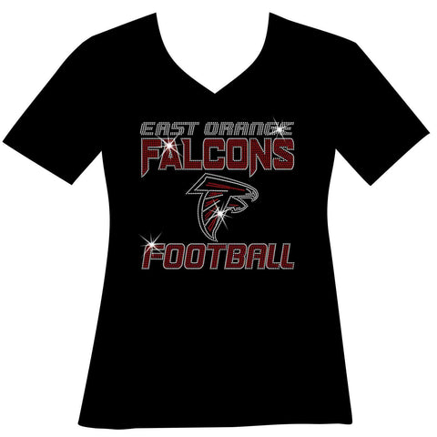 East Orange Falcons Football Ladies Holographic Spangle Sparkle Long Sleeve, Short Sleeve Shirt, Tank and Hooded Sweatshirt-LS Shirt, SS Shirt, Racerback tank and hoodie-Becky's Boutique-XS-Short Sleeve V-Neck-Black-Beckys-Boutique.com