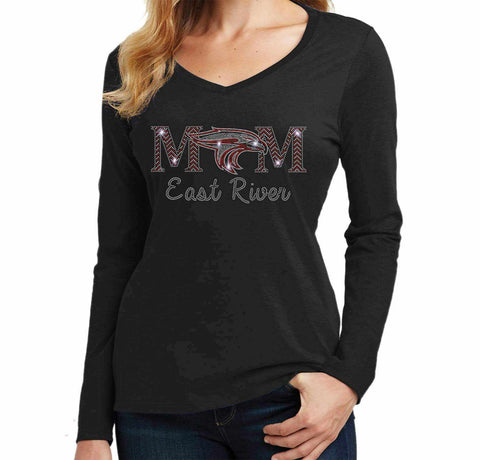 East River Falcons Mom-East River Falcons- High School - Ladies Long Sleeve V-Neck Ladies Long Sleeve V-neck Becky`s Boutique Extra Small