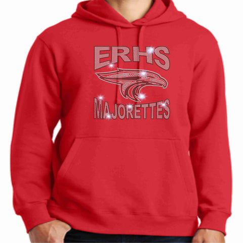East River High School ERHS Majorette Hoodie - Available in Red, Light Gray and Dark Gray-Hoodie Sweatshirt-Becky's Boutique-Small-Red-Beckys-Boutique.com