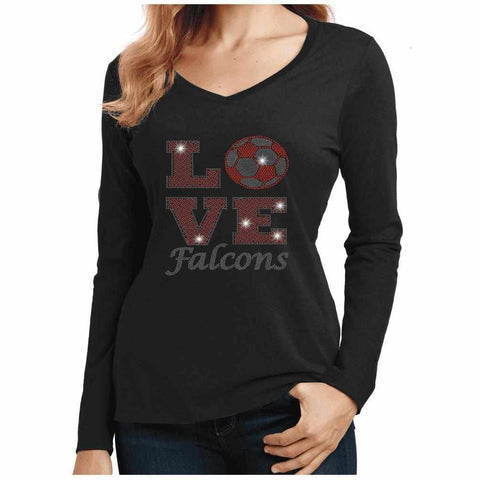 East River High School Falcons Love Soccer Spangle Rhinestone Bling shirt-Adult Schools Becky's Boutique Womens Extra-small Womens Long Sleeve V-neck Black