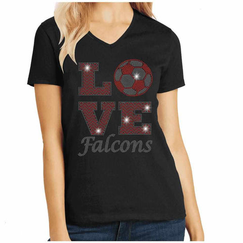 East River High School Falcons Love Soccer Spangle Rhinestone Bling shirt-Adult Schools Becky's Boutique Womens Extra-small Womens short sleeve V-neck Black