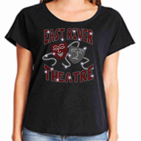 East River High School -Falcons-Theatre Spangle Bling Ladies flowy t-shirt ladies dolman tshirt Becky's Boutique XS Black