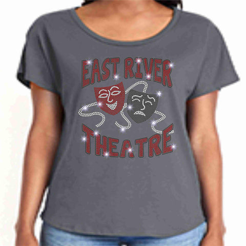East River High School -Falcons-Theatre Spangle Bling Ladies flowy t-shirt ladies dolman tshirt Becky's Boutique XS Dark Gray