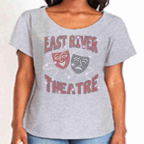 Image of East River High School -Falcons-Theatre Spangle Bling Ladies flowy t-shirt ladies dolman tshirt Becky's Boutique XS Light Gray