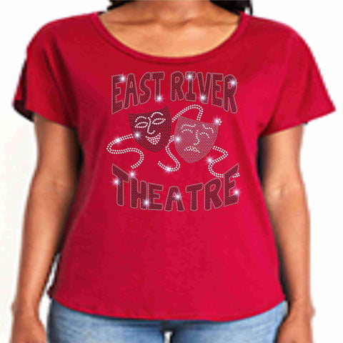 Image of East River High School -Falcons-Theatre Spangle Bling Ladies flowy t-shirt ladies dolman tshirt Becky's Boutique XS Red