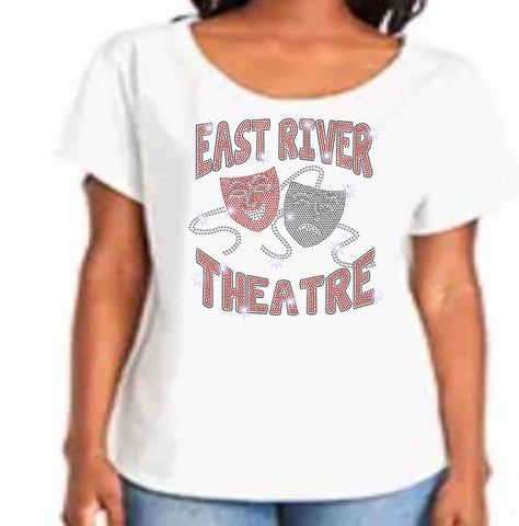 East River High School -Falcons-Theatre Spangle Bling Ladies flowy t-shirt ladies dolman tshirt Becky's Boutique XS White