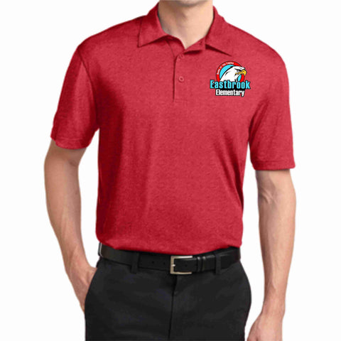 Image of EastBrook Elementary - Mens Heather Polo polo Beckys-Boutique.com Extra Small Red