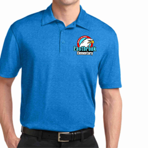 Image of EastBrook Elementary - Mens Heather Polo polo Beckys-Boutique.com Extra Small Teal