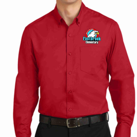 Image of Eastbrook Elementary - Mens Long Sleeve Button Down Shirt Button Down Dress Shirt Beckys-Boutique.com Extra Small Red