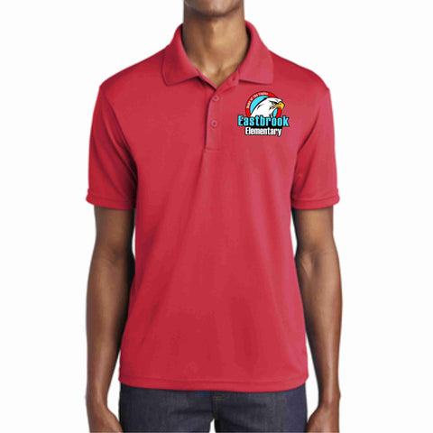 Image of EastBrook Elementary - Mens RacerMesh Polo polo Beckys-Boutique.com Extra Small Red