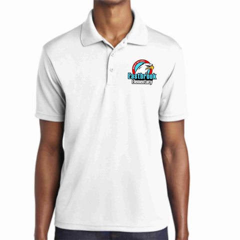 Image of EastBrook Elementary - Mens RacerMesh Polo polo Beckys-Boutique.com Extra Small White