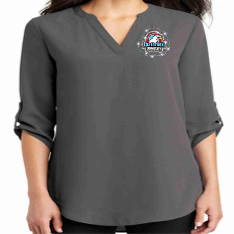 Image of Eastbrook Elementary - Womens Button Sleeve Chiffon Tunic Tunic Beckys-Boutique.com Extra Small
