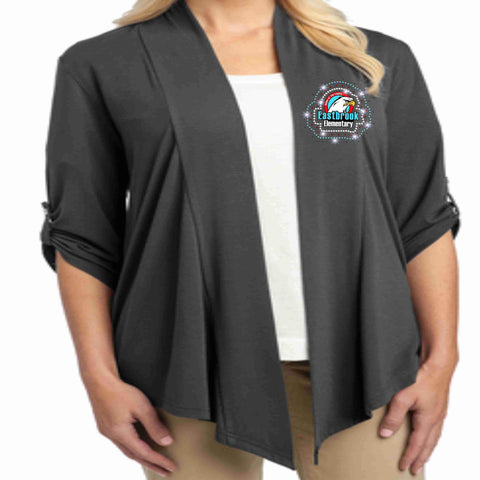 Image of Eastbrook Elementary - Womens Dark Gray Button Sleeve Cardigan Cardigan Beckys-Boutique.com Extra Small