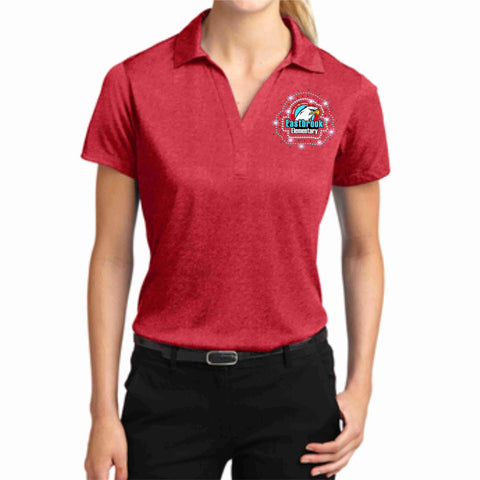 Image of EastBrook Elementary - Womens Heather Polo polo Beckys-Boutique.com Extra Small Red