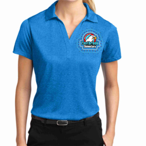 Image of EastBrook Elementary - Womens Heather Polo polo Beckys-Boutique.com Extra Small Teal
