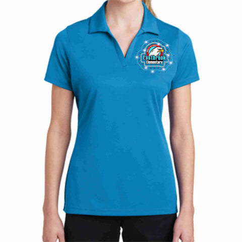 Eastbrook Elementary - Womens Mesh Polo Button Down Dress Shirt Beckys-Boutique.com Extra Small Teal