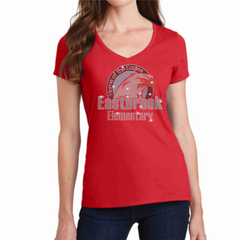 Image of Eastbrook Elementary - Womens Short Sleeve V-Neck Shirt Ladies Short Sleeve V-neck Beckys-Boutique.com Extra Small Red