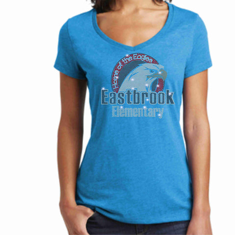 Image of Eastbrook Elementary - Womens Short Sleeve V-Neck Shirt Ladies Short Sleeve V-neck Beckys-Boutique.com Extra Small Teal