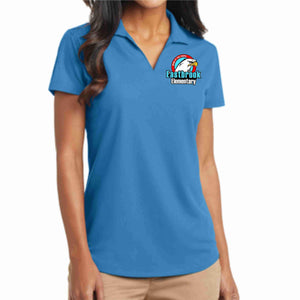 EastBrook Elementary - Womens Textured Polo Button Down Dress Shirt Beckys-Boutique.com Extra Small Teal