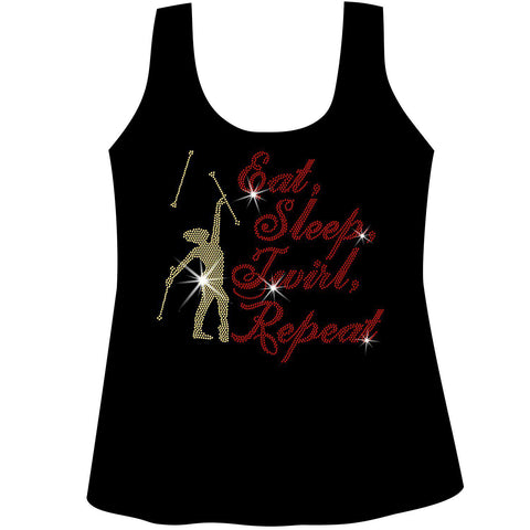 Eat, Sleep, Twirl, Repeat Ladies Holographic Short Sleeve V-Neck, Long Sleeve V-Neck, Racerback Tank and Hooded Sweatshirt-LS Shirt, SS Shirt, Racerback tank and hoodie-Becky's Boutique-XS-Racerback Tank-Beckys-Boutique.com