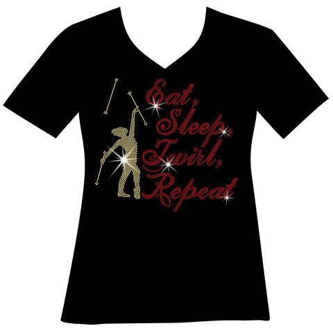 Eat, Sleep, Twirl, Repeat Ladies Holographic Short Sleeve V-Neck, Long Sleeve V-Neck, Racerback Tank and Hooded Sweatshirt-LS Shirt, SS Shirt, Racerback tank and hoodie-Becky's Boutique-XS-Short sleeve V-Neck-Beckys-Boutique.com