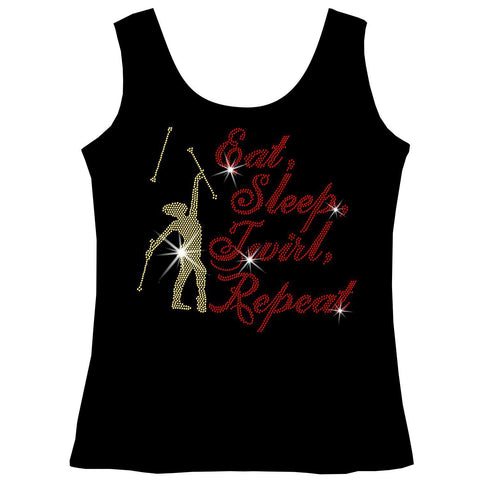 Image of Eat, Sleep, Twirl, Repeat Youth Short Sleeve Crew Neck,Long Sleeve Crew Neck, Girls Tank Top, Youth Hooded Sweatshirt-Youth LS, SS, tank and Hoodie-Becky's Boutique-XS-Girls Tank Top-Beckys-Boutique.com
