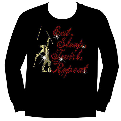 Image of Eat, Sleep, Twirl, Repeat Youth Short Sleeve Crew Neck,Long Sleeve Crew Neck, Girls Tank Top, Youth Hooded Sweatshirt-Youth LS, SS, tank and Hoodie-Becky's Boutique-XS-Long Sleeve Crew Neck-Beckys-Boutique.com