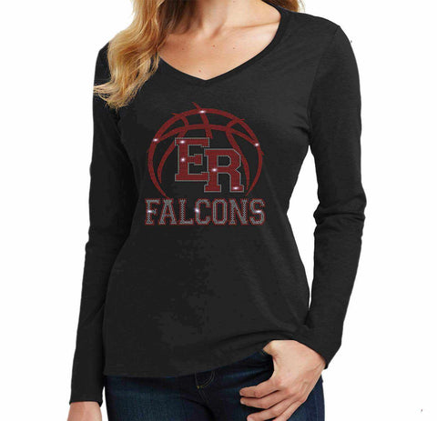 ER Basketball -East River Falcons- High School - Ladies Long Sleeve V-Neck Ladies Long Sleeve V-neck Becky`s Boutique Extra Small